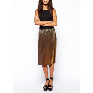 FINAL PRICE Metallic Gold Pleated Midi Skirt